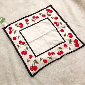 Kate Spade cherry %100 silk scarf BANDANA NWT
